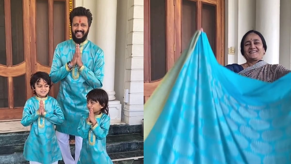 Riteish Deshmukh and his boys sport Diwali outfits made from his mother's old saree
