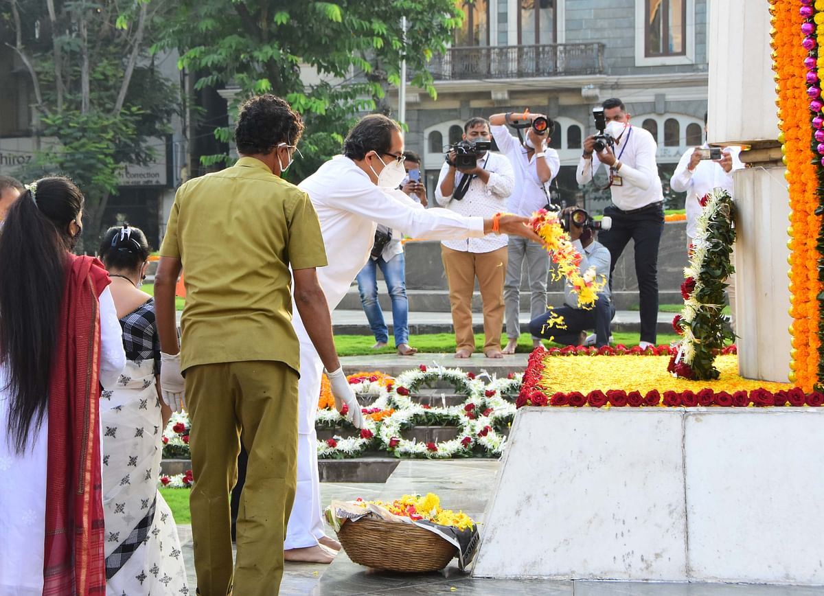 In Photos: Uddhav Thackeray pays homage to the martyrs at Hutatma Chowk