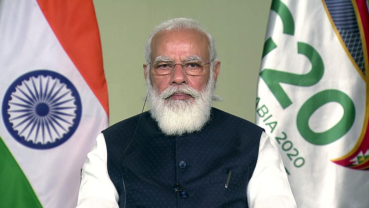 Prime Minister Narendra Modi attends the 15th G20 summit via video conferencing, in New Delhi on Saturday.