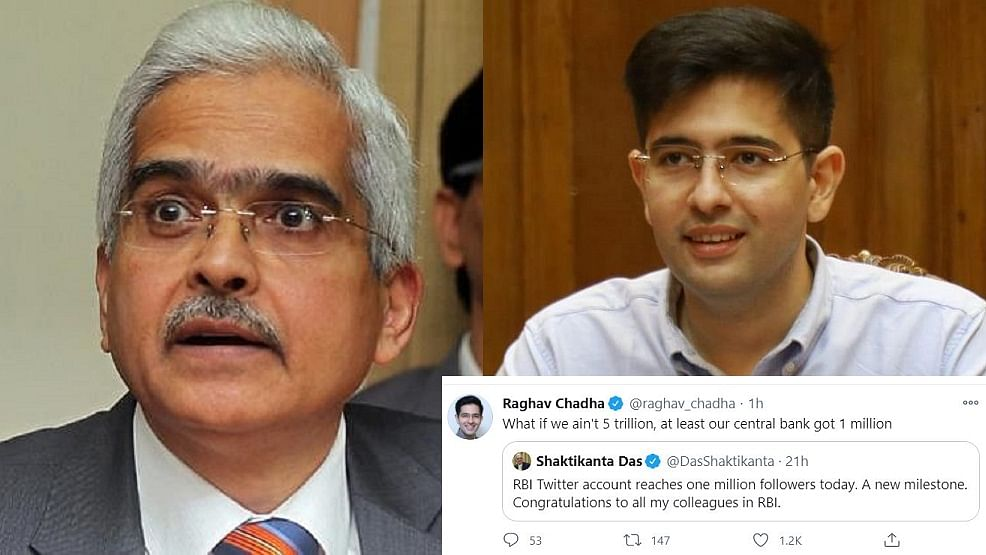 'What if we ain't 5 trillion...': AAP's Raghav Chadha, others mock RBI Guv as central bank celebrates 'milestone' of million Twitter followers