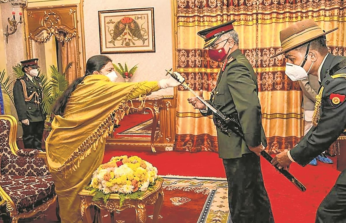 Army Chief General MM Naravane, being conferred honorary rank of General of Nepali Army by Bidya Devi Bhandari, President of Nepal, at a special ceremony at the President's official residence 'Shital Niwas' in Kathmandu.