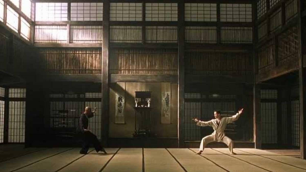 A still from the famous 'dojo scene' in The Matrix (1999)