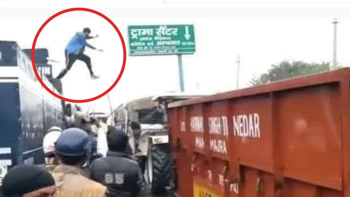 Navdeep Singh, 26, was hailed as a hero by many on social media as his video of climbing on the top of the vehicle and jumping back to a tractor trolley went viral
