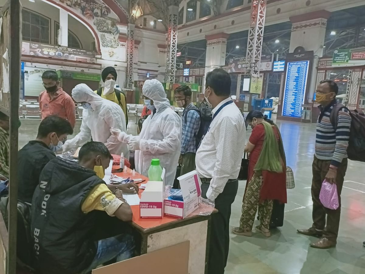 Authorities screening and testing passengers at CSMT.