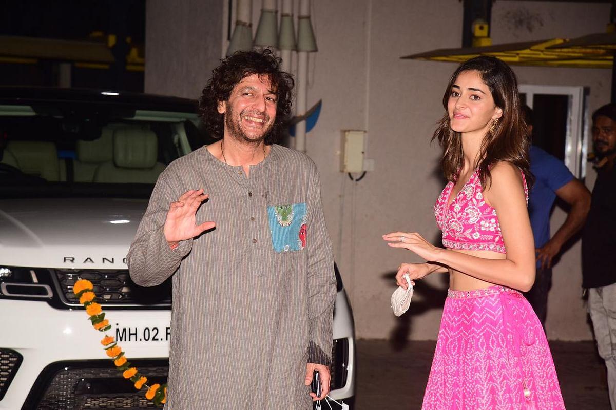 Chunky and Ananya Pandey at Bunty Sajdeh party in Bandra