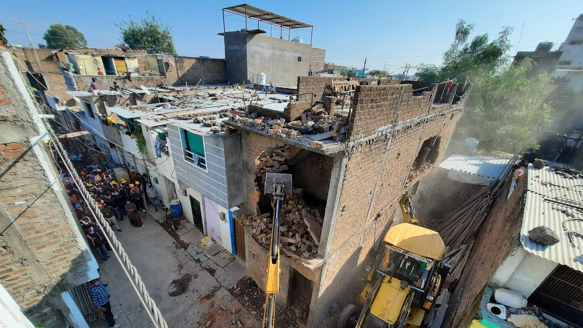 Anti-Gunda drive: 4 illegal structures of goons razed in Khajrana