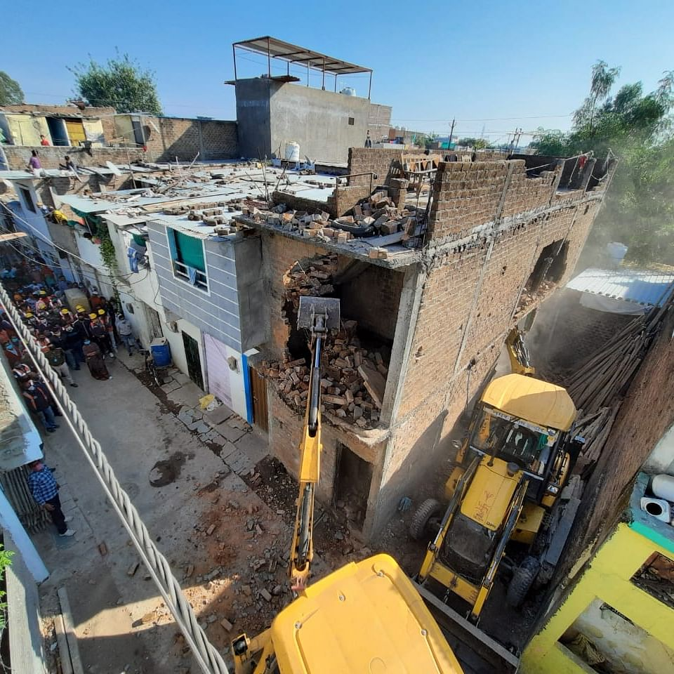 Anti-Gunda drive: 4 illegal structures of goons razed in Khajrana
