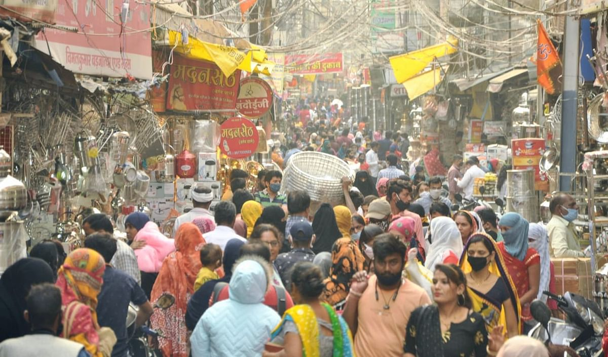 Crowded Bartan Bazaar where people made purchases on this auspicious day of Dhanteras.