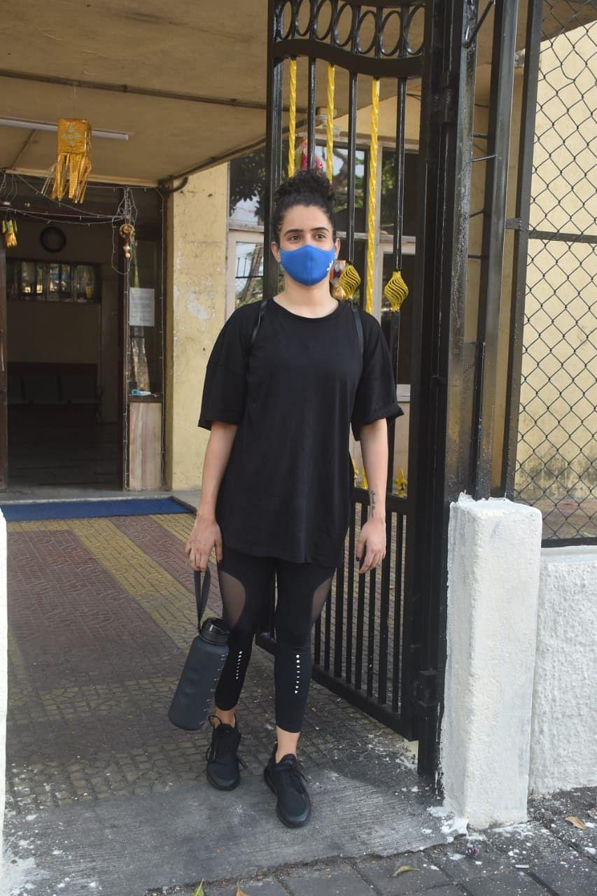 Sanya Malhotra at a gym in Juhu