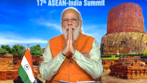 Prime Minister Narendra Modi speaking at virtual summit of 10-nation ASEAN