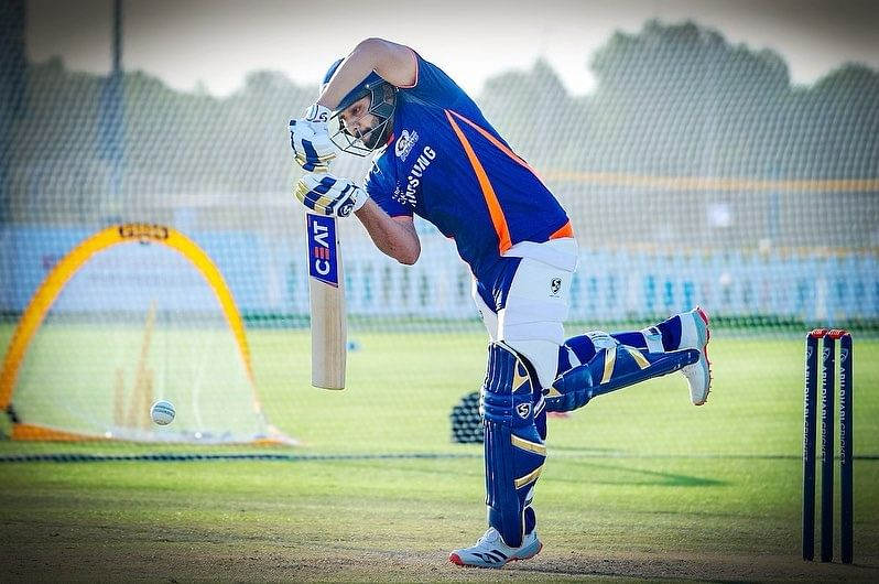 Rohit Sharma practising in the nets for Mumbai Indians in the UAE