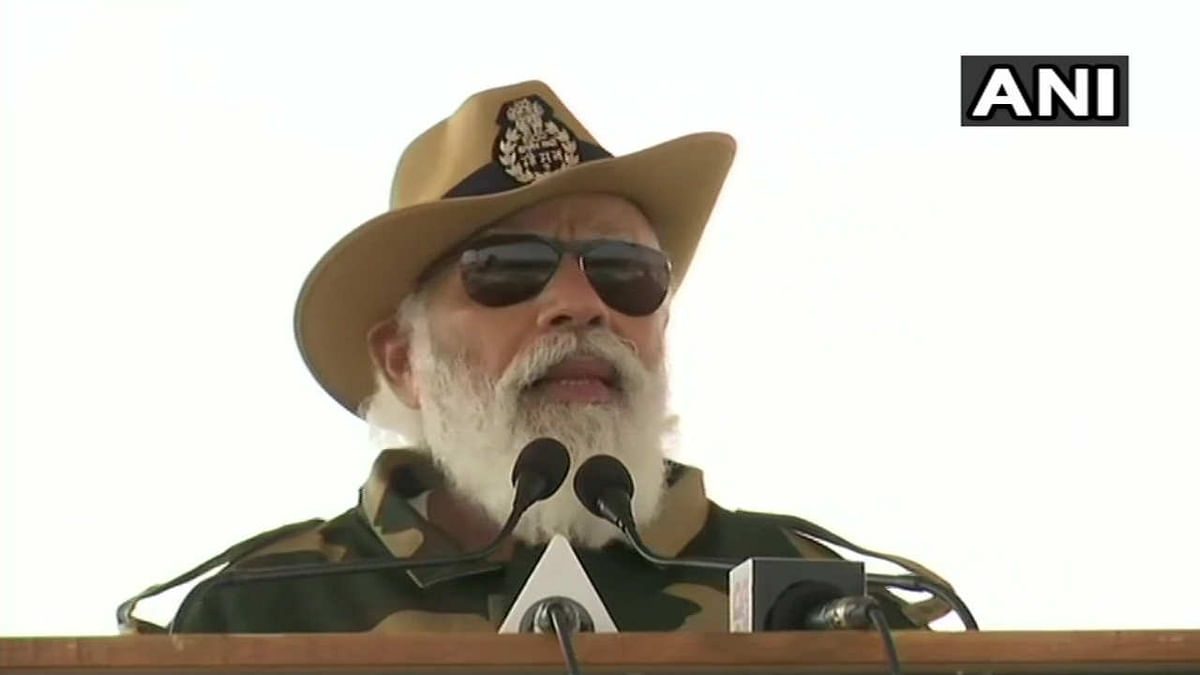 Prime Minister Narendra Modi at Longewala in Jaisalmer to celebrate Diwali with soldiers