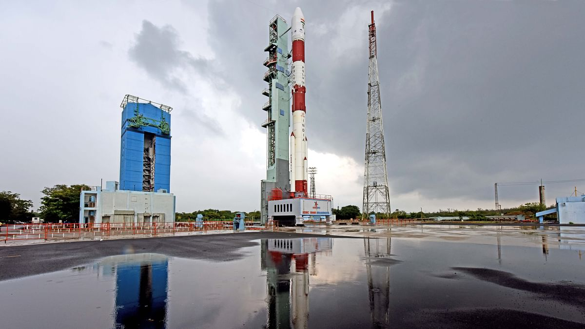 PSLVC49 carrying E0S01 and nine international customer satellites at First Launch Pad in Sriharikota ahead of its launch
