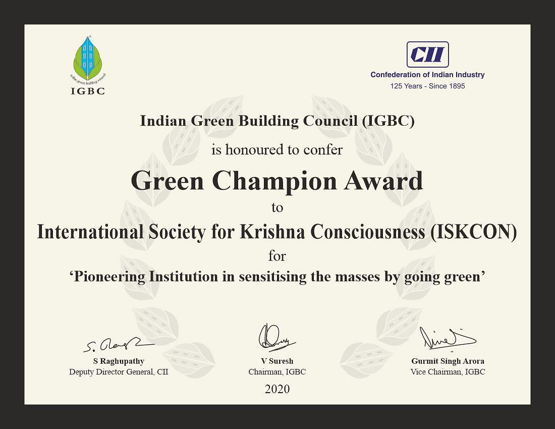 ISKCON bags 'IGBC Green Champion Award 2020'