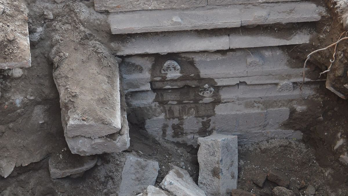 Remains of temple estimated to be over 800-1000-year-old surface during excavation