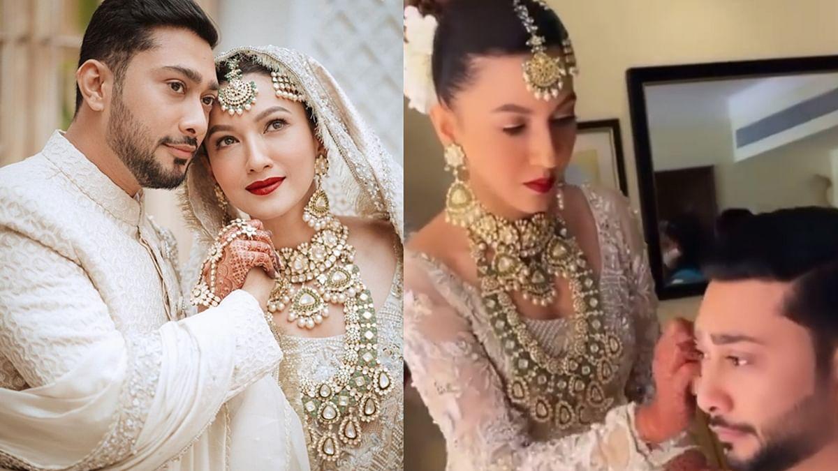 Watch: Gauahar Khan does hubby Zaid Darbar's makeup before nikaah ceremony