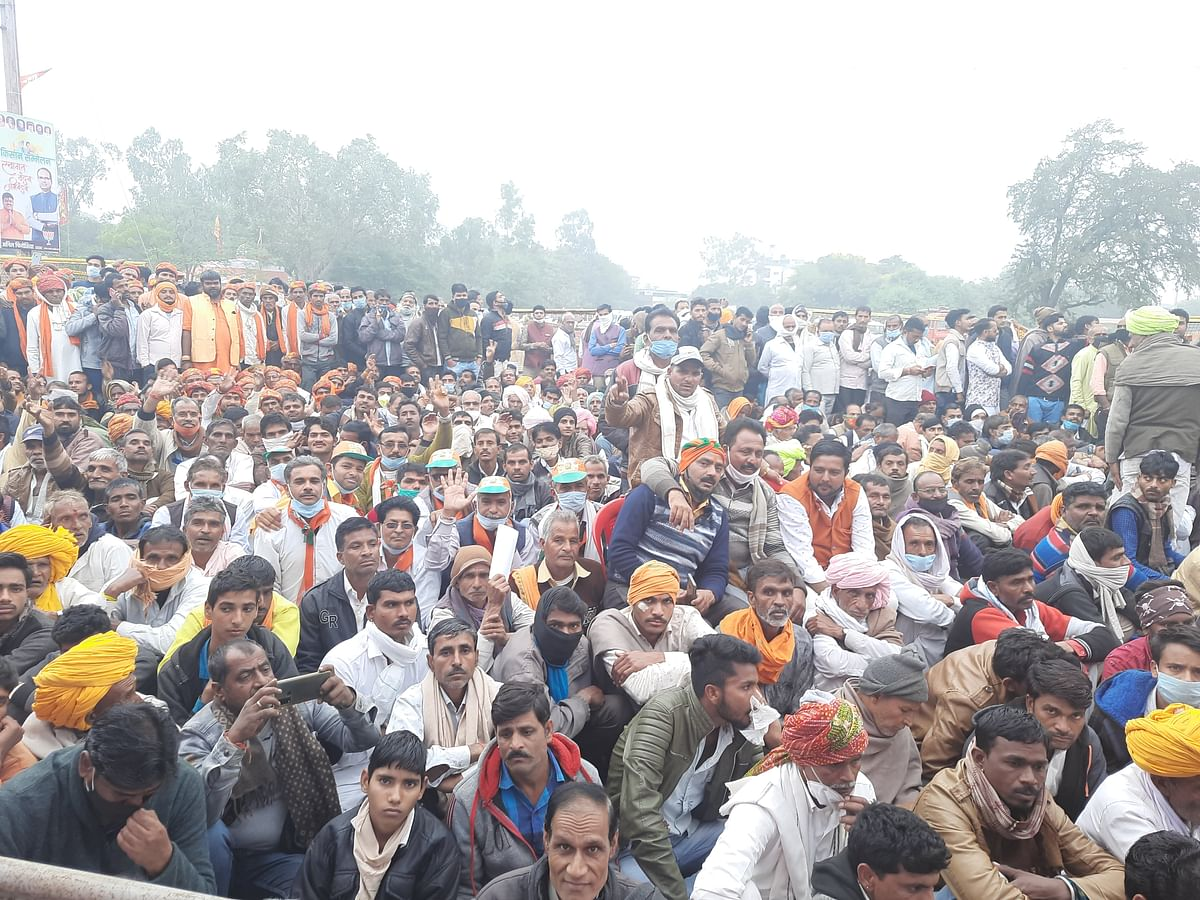 Participants at BJP's Kisan Sammelan failed to comply with the Covid-19 guidelines like wearing face masks and maintaining the physical distancing