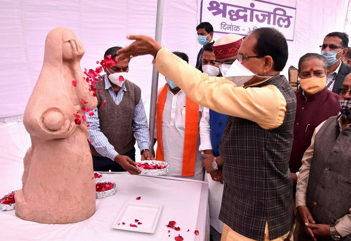 Madhya Pradesh Chief Minister Shivraj Singh Chouhan pays tribute to victims of the Bhopal Gas tragedy on its 36th anniversary, in Bhopal, Thursday