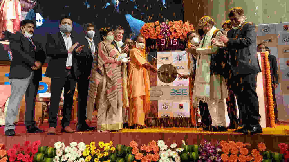 Yogi Adityanath on Wednesday rang the bell at the Bombay Stock Exchange (BSE) in Mumbai