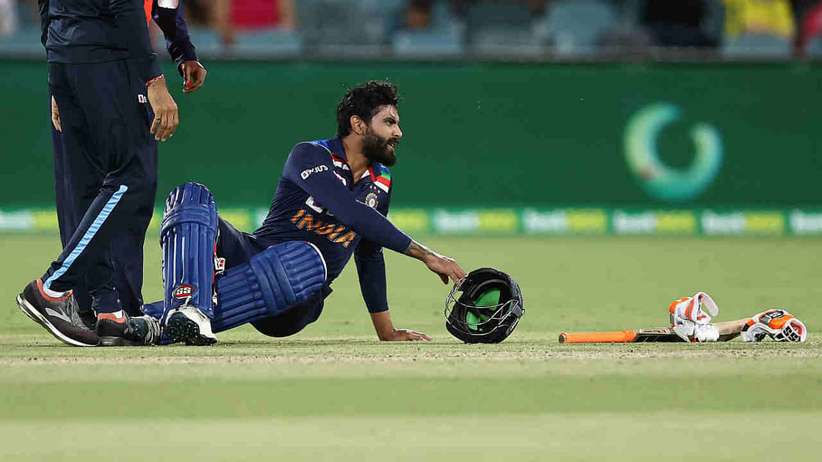 Ravindra Jadeja gets injured during the first T20 of the series at Canberra on Friday
