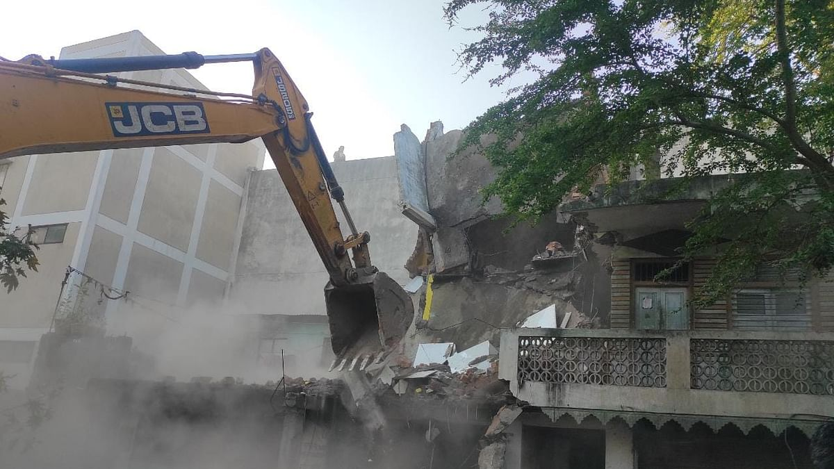 Yaqub's house opposite Cloth Market hospital was demolished in Indore on Wednesday morning