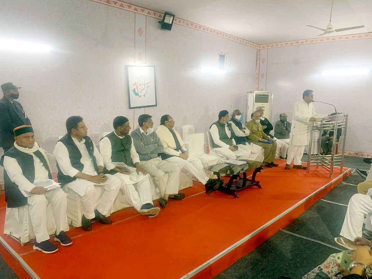 State Congress chief Kamal Nath addresses Congress Legislative Party (CLP)  meeting at his residence in Bhopal on Sunday.