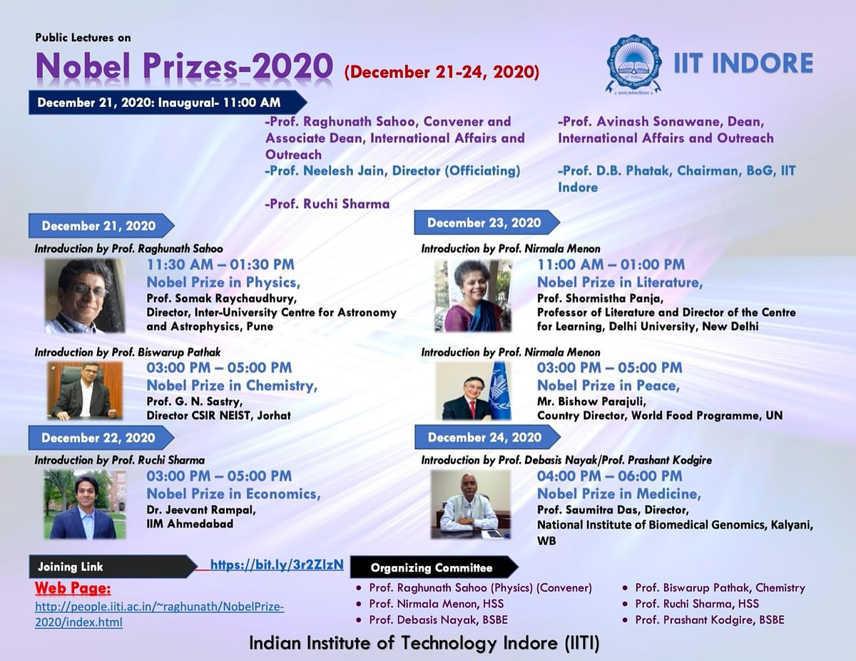 Indore: IIT-I to hold 4-day lecture series on Nobel-2020