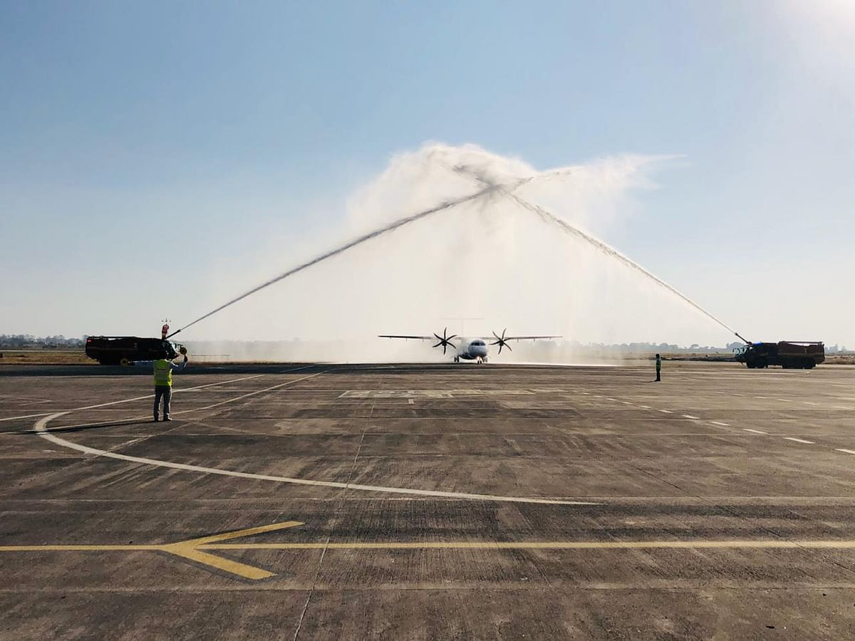 Indore welcomes first Proving Flight of Fly Big Airlines, receives water cannon salute