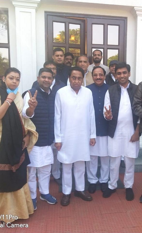 Vikrant Bhuria calls on  PCC chief Kamal Nath after getting elected  as MP Youth Congress president. Kantilal Bhuria was also present.