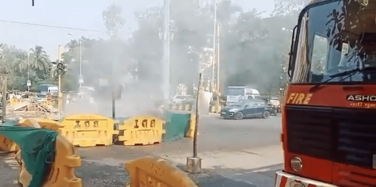 Watch Video: Gas pipeline bursts during road repair work in Navi Mumbai's Vashi; gas supply temporarily stopped
