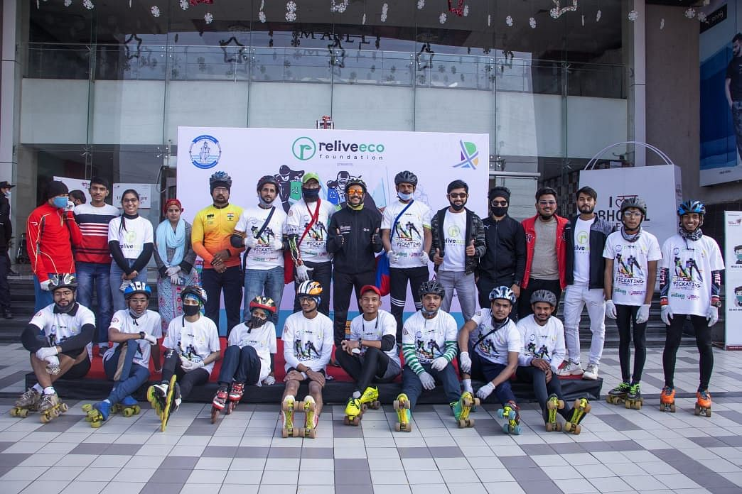 Skaters who participated in Pickating in Bhopal on Sunday
