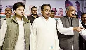 Ex-chief ministers Digvijaya Singh, Kamal Nath and Jyotiraditya Scindia at a function before latter joined BJP