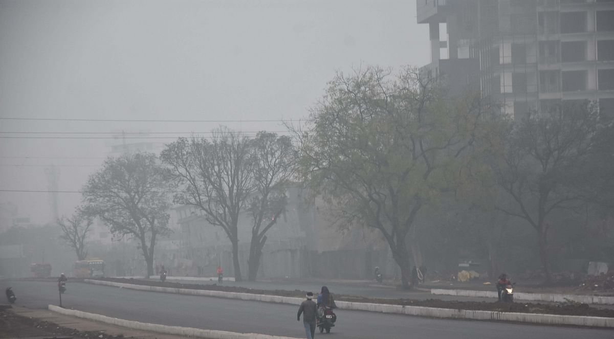 A thick fog envelops the state capital on Sunday