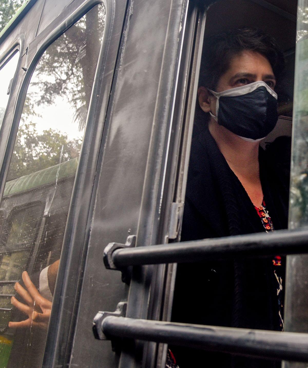 Delhi Police take Congress leader Priyanka Gandhi Vadra and party leaders into custody, in New Delhi on Thursday.