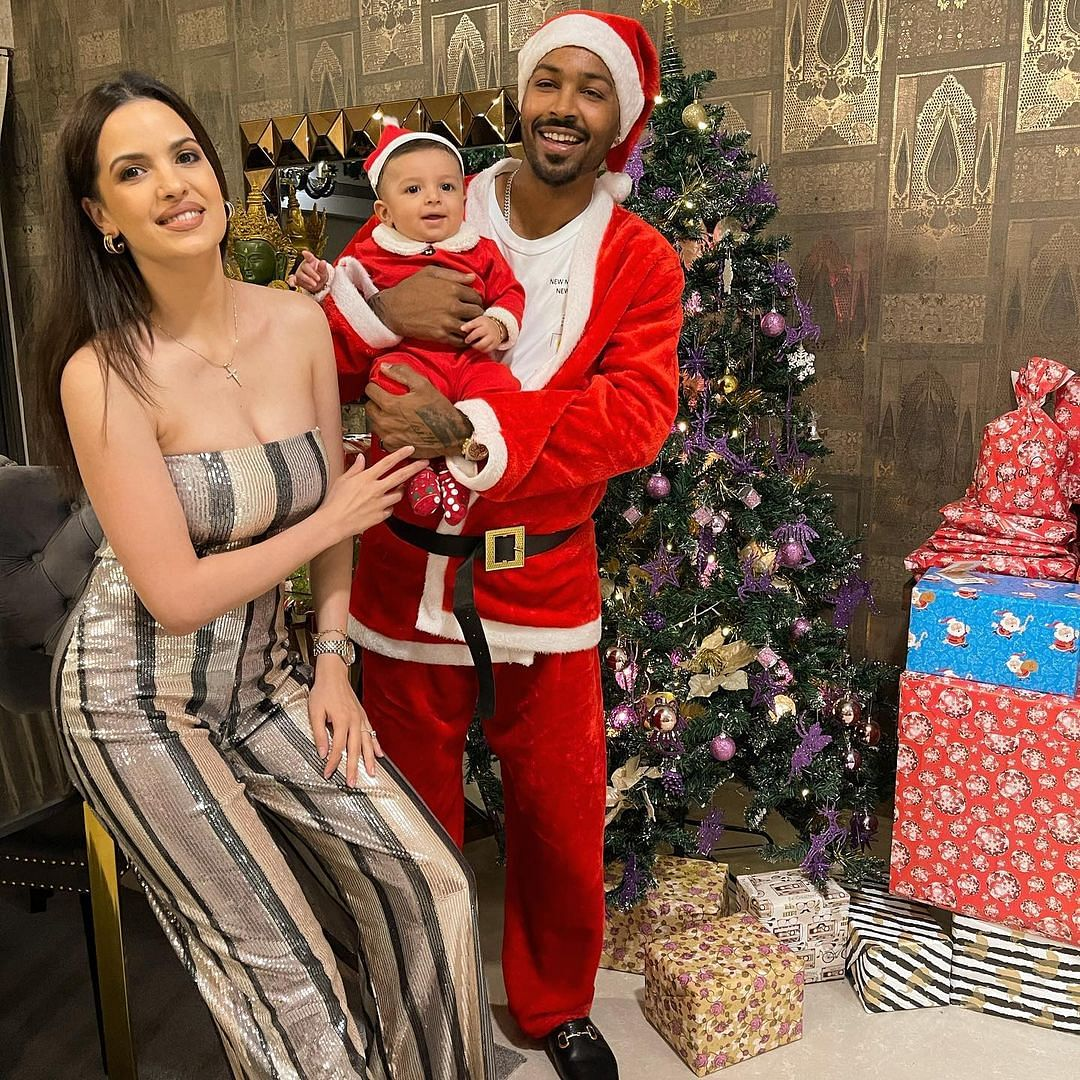 In Pics: Hardik Pandya turns Santa for baby boy Agastya's first Christmas
