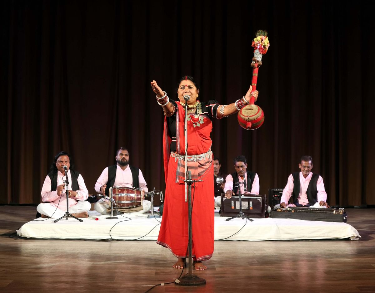 Pandwani singer Shanti Bai Chelak and troupe performing at the Tribal Museum in the city on Friday evening.
