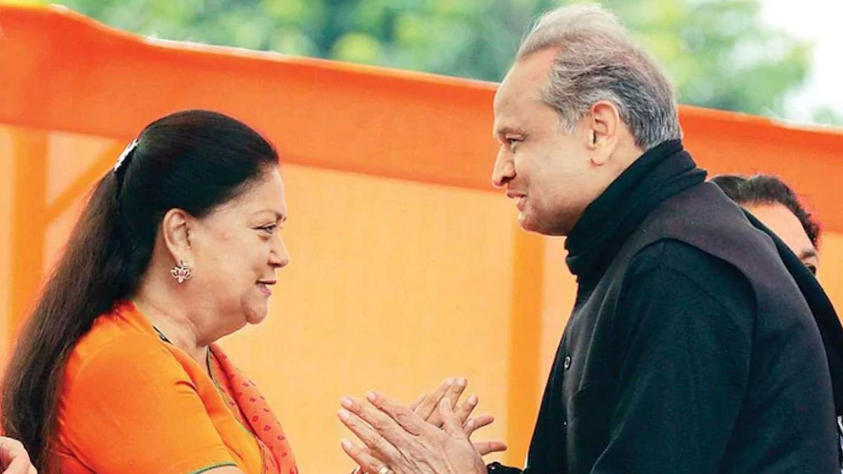 Former Rajasthan CM Vasundhara Raje (L) and Rajasthan CM Ashok Gehlot (R)