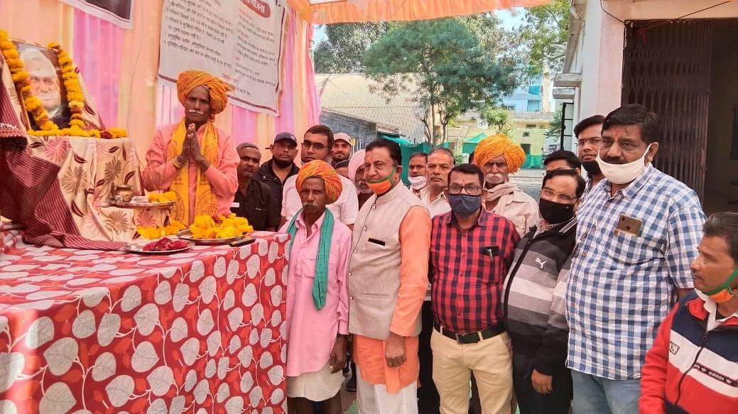 Villagers celebrating birth anniversary of former Prime Minister Atal Bihari Vajpayee at Kukshi village
