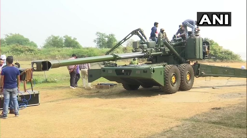 Trials of ATAGS (Advanced Towed Artillery Gun System) Howitzer guns at the Balasore test-firing range in Odisha