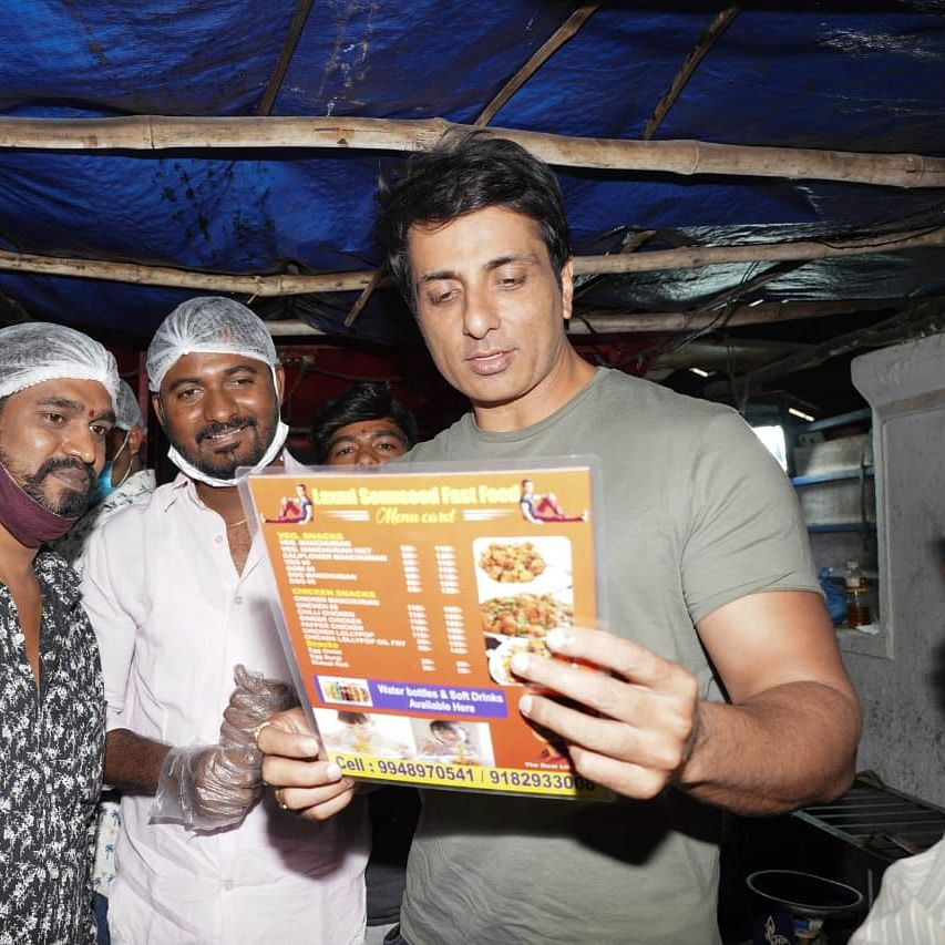 Sonu Sood pays surprise visit to fan's roadside food stall in Hyderabad