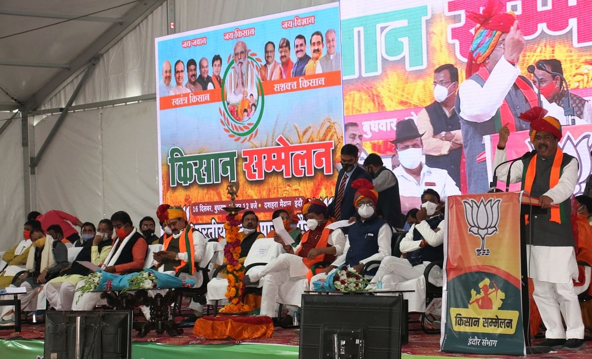 Union minister Dharmendra Pradhan addressing a divisional level farmers convention at Dusherra Maidan in the city on Wednesday