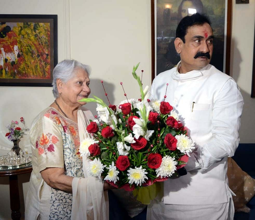 Home Minister Narottam Mishra meets Indira Bhaduri, seeks support to oust Mamata government