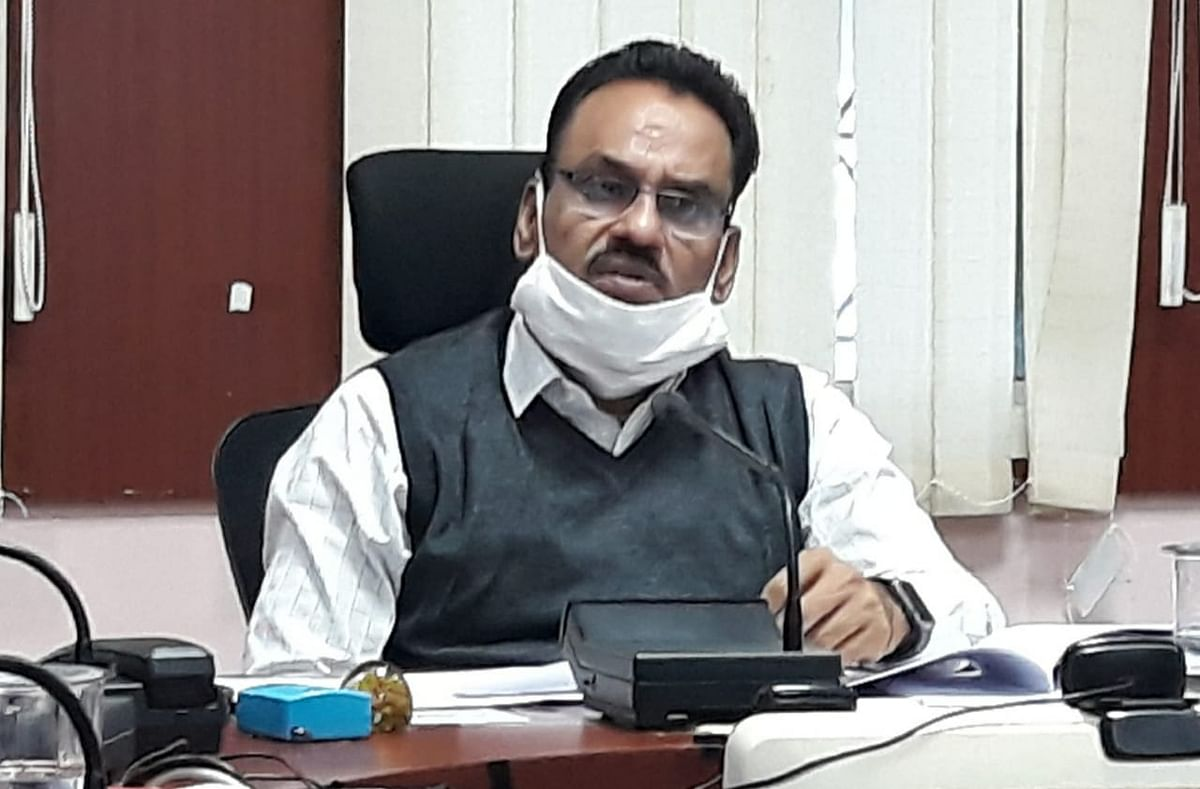 Barwani collector Shivraj Singh Verma  at a review meeting on Monday