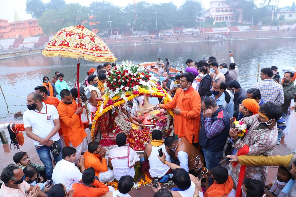 Lord Lord Mahakal's palanquin sawari being taken out in Ujjain on Monday.