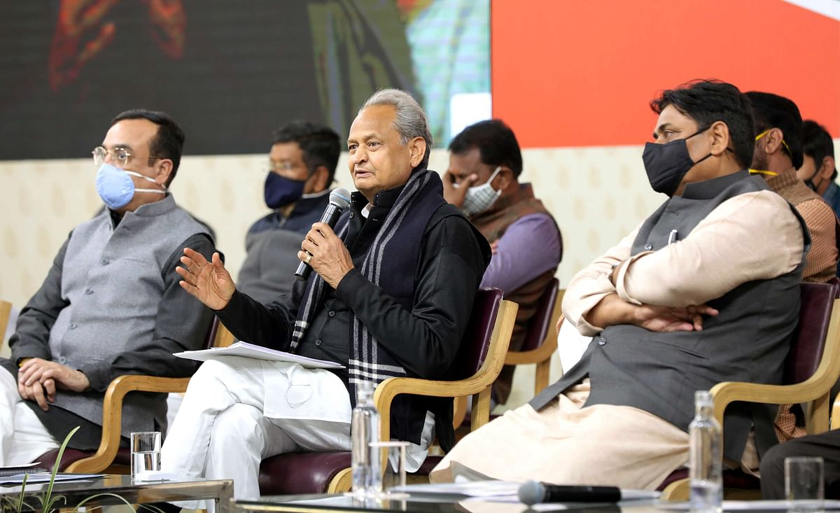 Rajashthan Chief Minister Ashok Gehlot addressing the press conference in presence of Rajasthan in-charge Ajay Maken and cabinet members at his residence, in Jaipur on Friday.