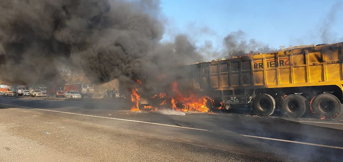 The trailer that caught fire resulting in the death of the driver