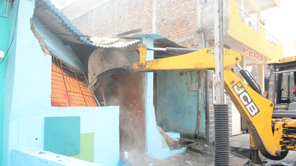 Illegal construction being demolished in Ujjain on Thursday