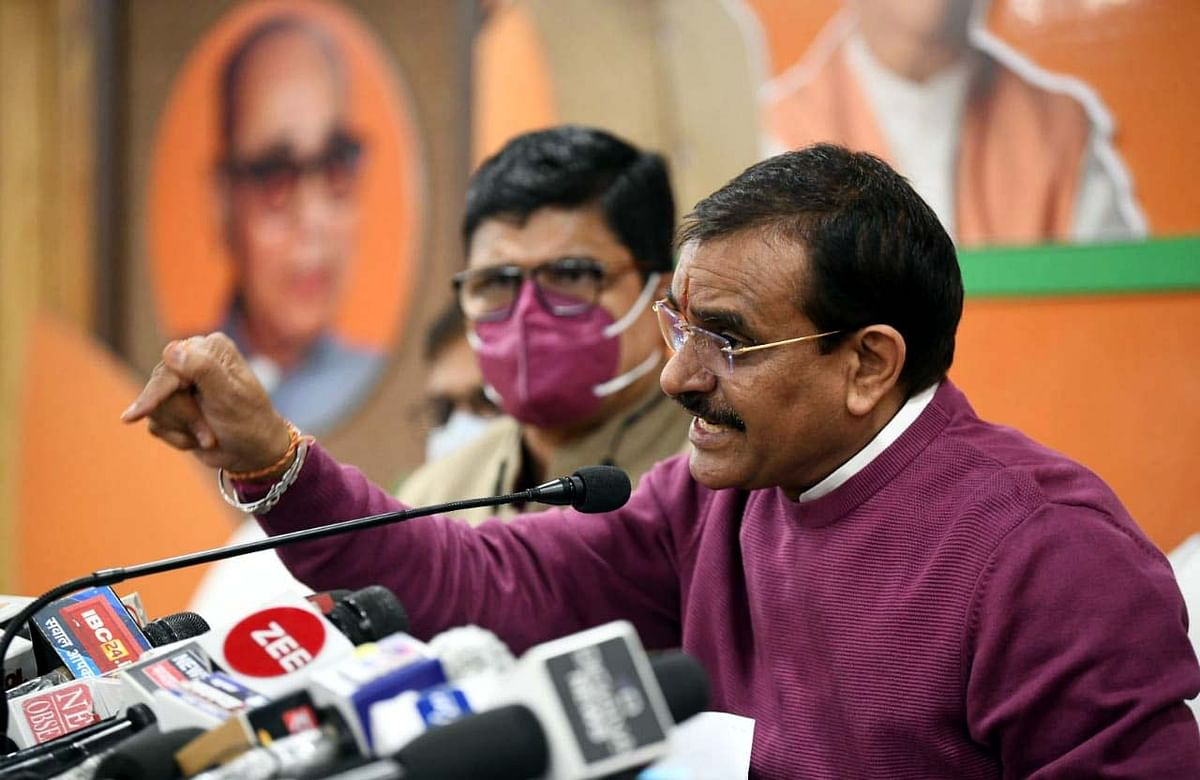 BJP state president VD Sharma interacts with the media at BJP office on Bhopal on Monday
