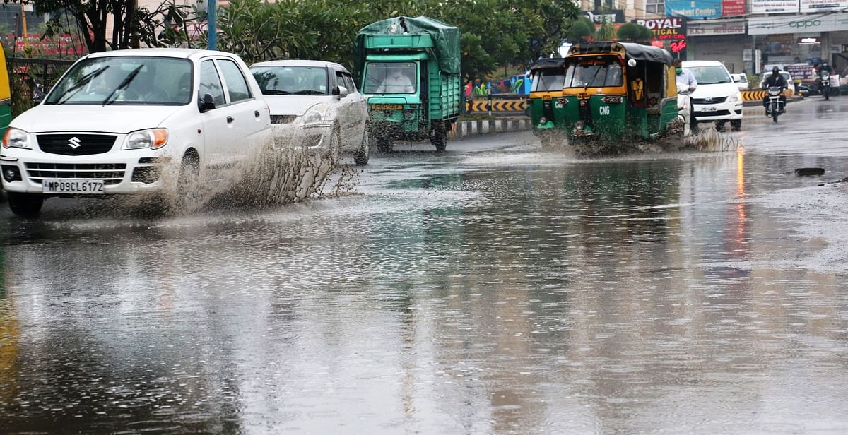 Waterlogged streets in Indore