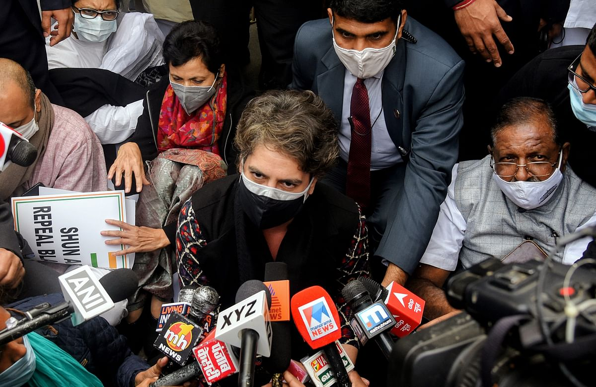 Congress leader Priyanka Gandhi Vadra speaks to the media after being stopped by Delhi Police during a protest in support of farmers protest against the three farms laws, outside AICC headquarters in New Delhi on Thursday.